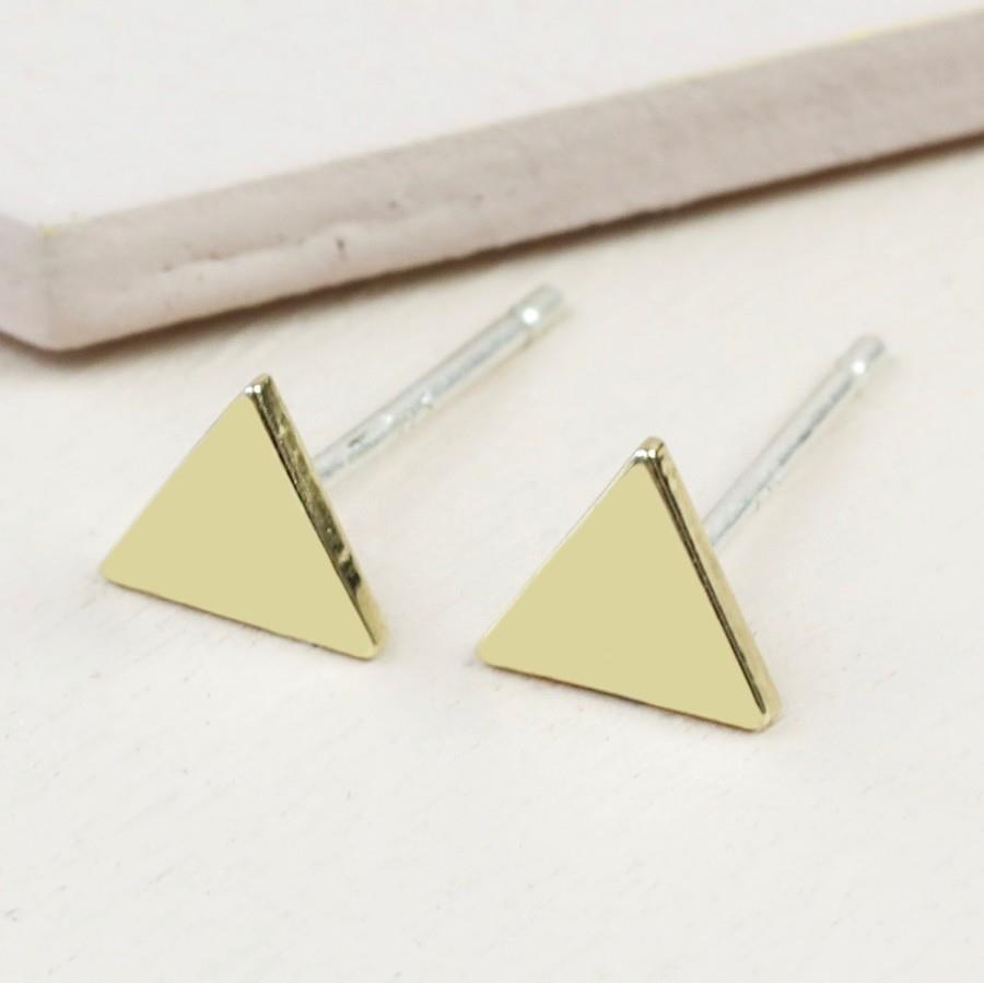 Tiny Triangle Stud Earrings in Gold