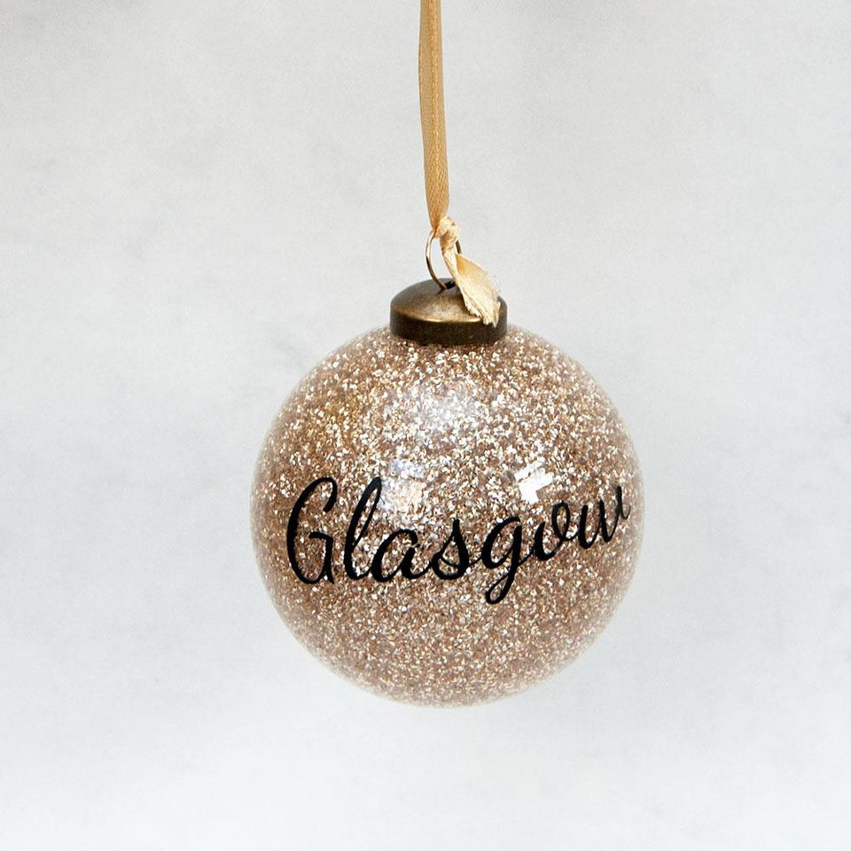 Gold Glitter Glasgow Bauble
