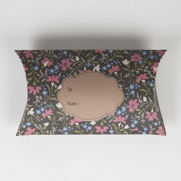 Dark Grey and Pink Floral Pillow Giftbox