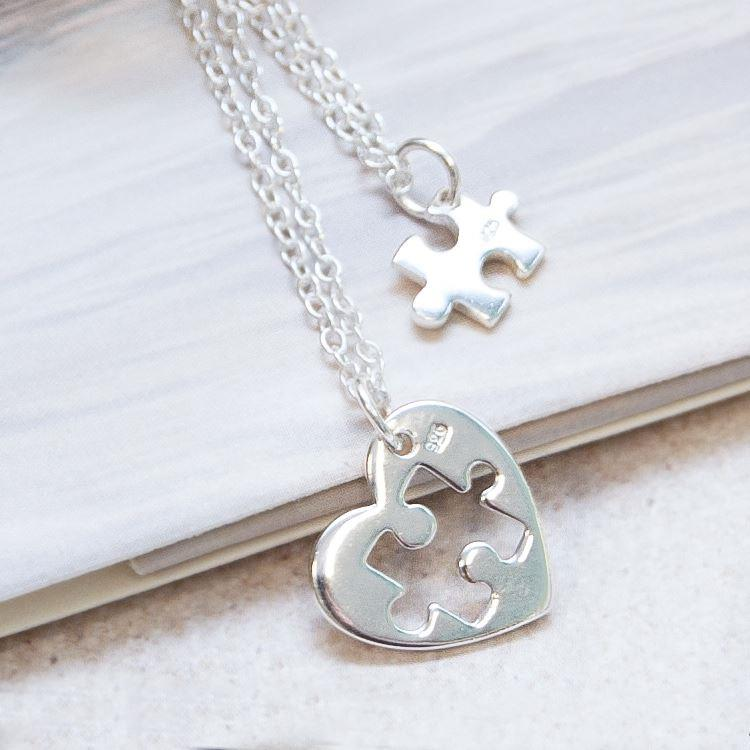Two Silver Heart & Jigsaw Piece Necklaces | Message in a Bottle Jewellery