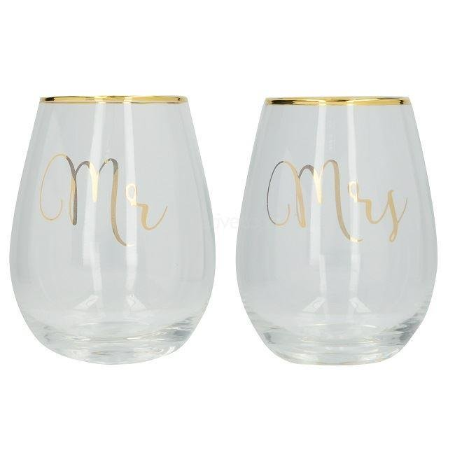 Ava & I Mr and Mrs Stemless Wine Glass Set