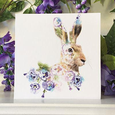 Hare Floral Card