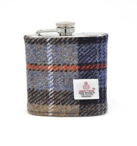 Grey And Blue Harris Tweed Hip Flask | In Gift Box