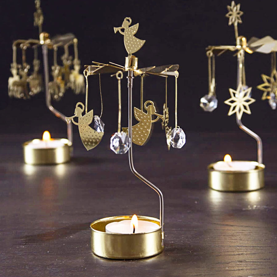 Gold Angel & Crystal Tea Light Rotary