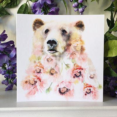 Polar Bear Floral Card