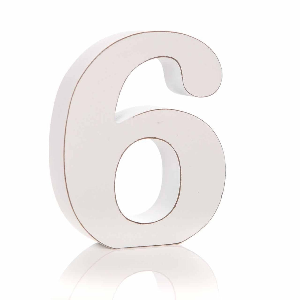 '6' Number White Block