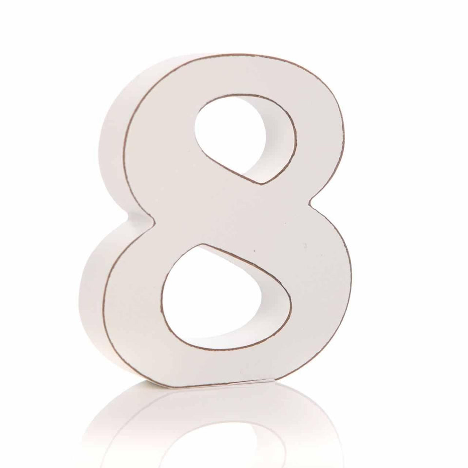 '8' Number White Block