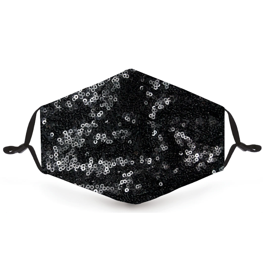 Black Sequin Metallic Reusable Face Mask