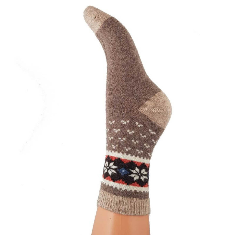 Brown Fairisle Wool Blend Socks