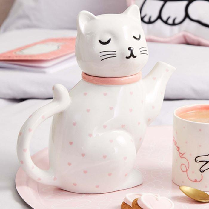 Cutie Cat Pink Polka Dot Hearts Teapot