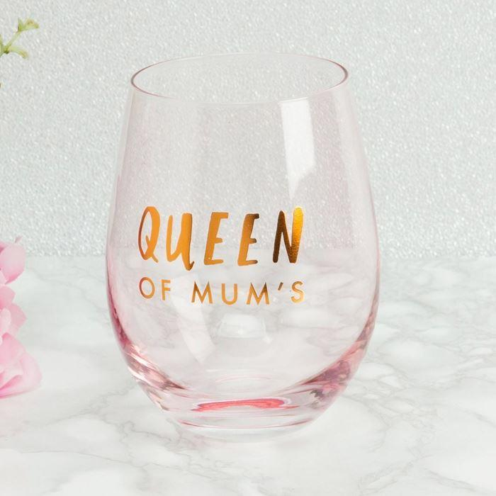 Queen of Mum's Stemless Wine Glass