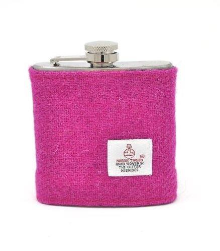 Bright Pink Tweed Hip Flask | In Gift Box