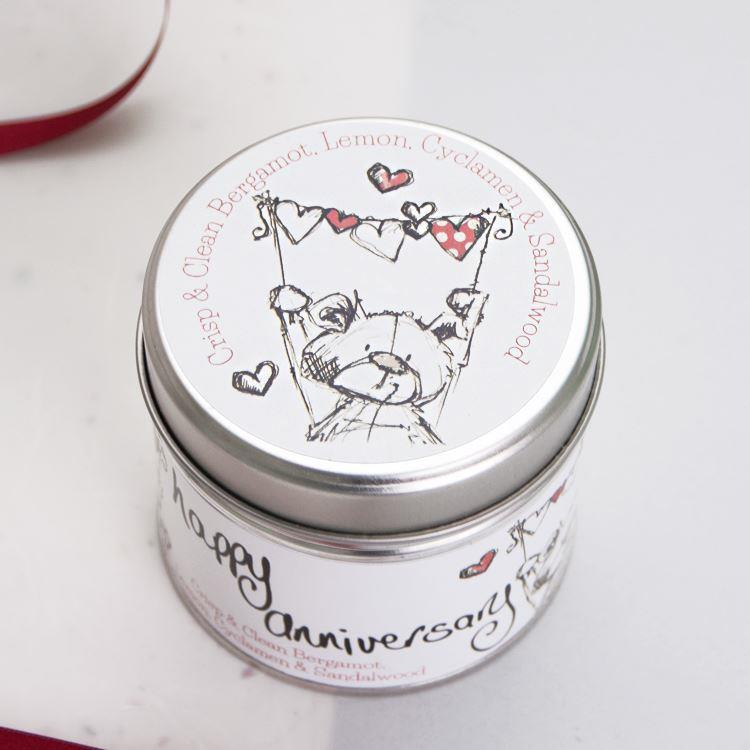 Happy Anniversary Teddy Bear Candle Tin