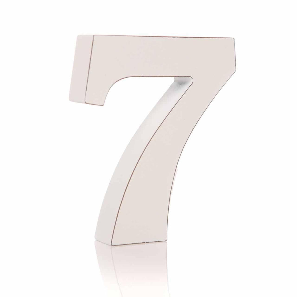 '7' Number White Block