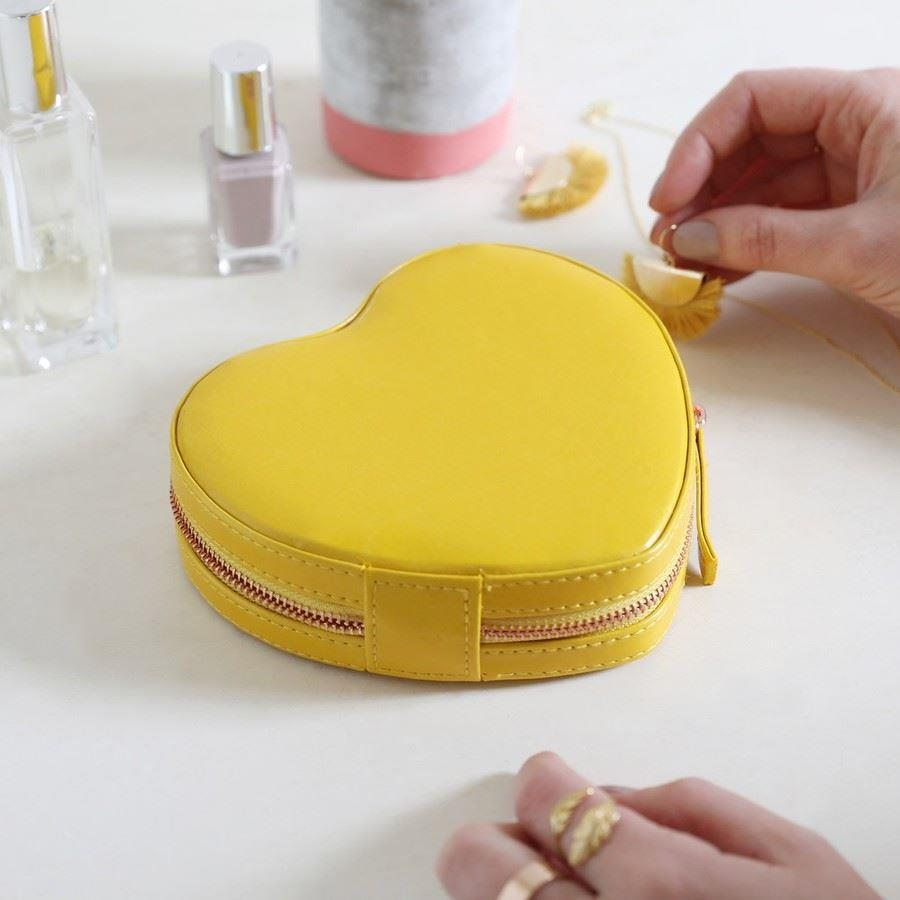 Yellow Heart PU Travel Jewellery Box