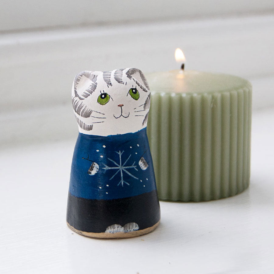 Christmas Cat Ceramic Candle Snuffer