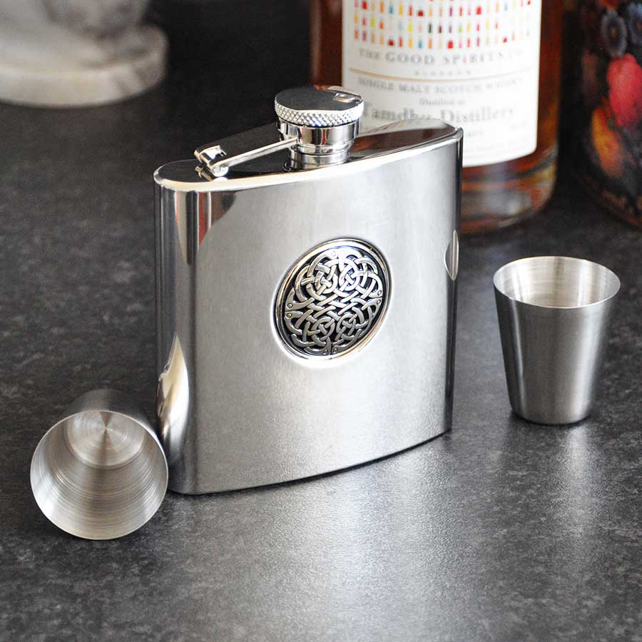 Celtic Hip Flask Set with Funnel and Shot Glasses