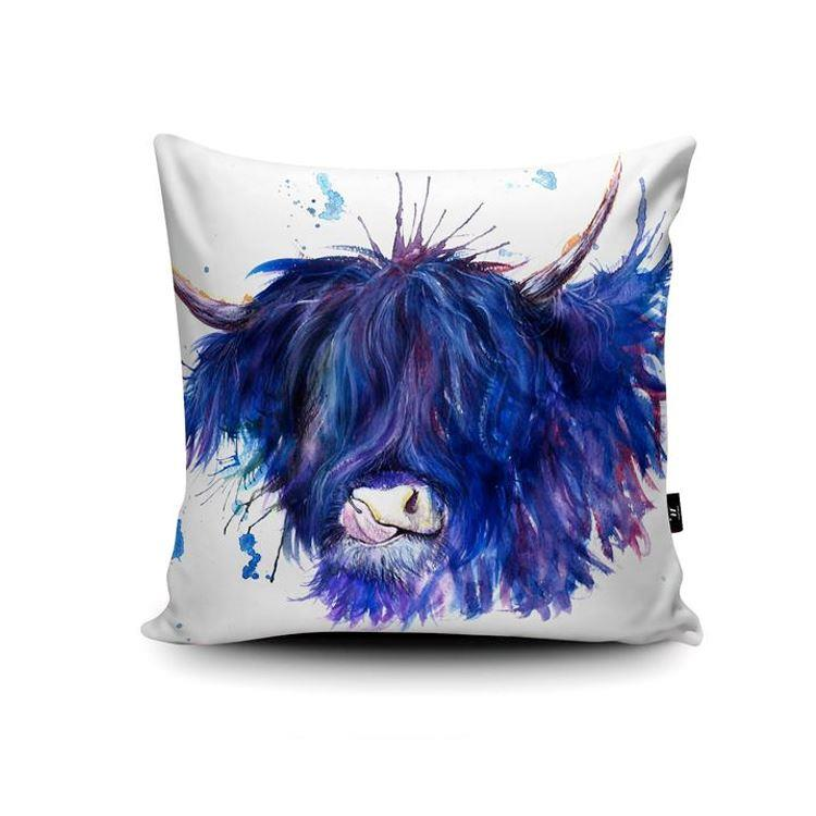Splatter Highland Cow with Tongue Cushion | Purple and Blue