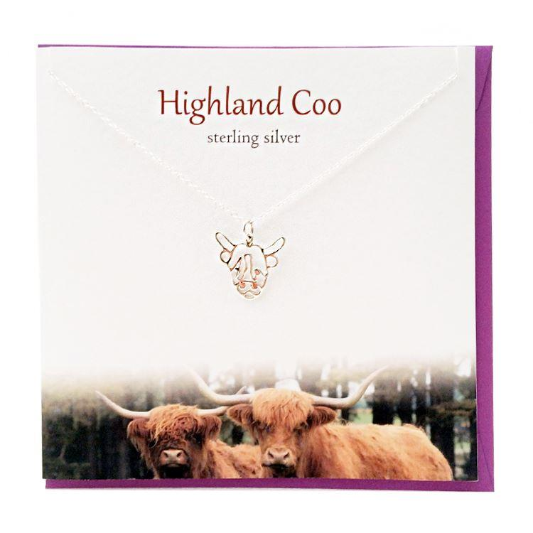 Silver Highland Coo Pendant Necklace