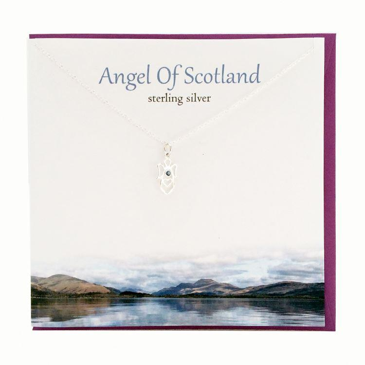 Silver Angel of Scotland Pendant Necklace