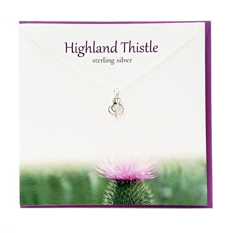 Silver Highland Thistle Pendant Necklace