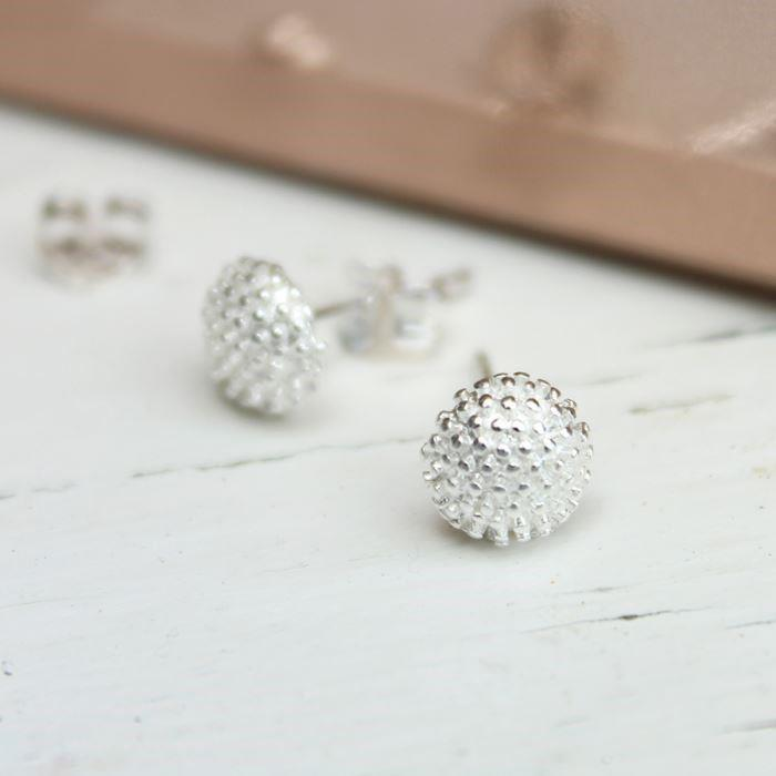 Silver Round Bobble Textured Stud Earrings