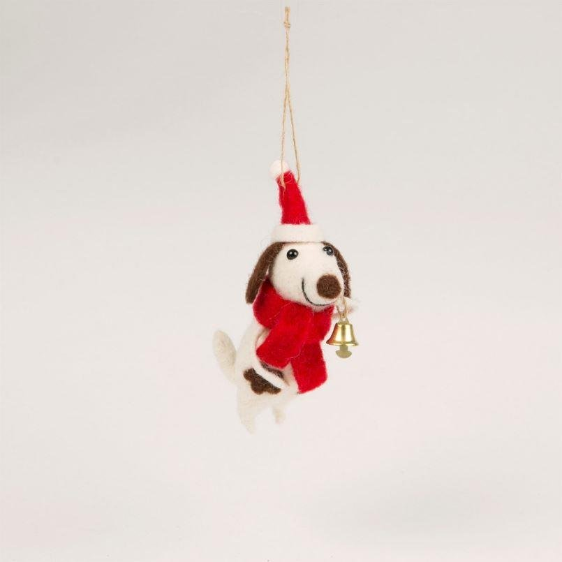Felt Festive Doggie With Bell Decoration