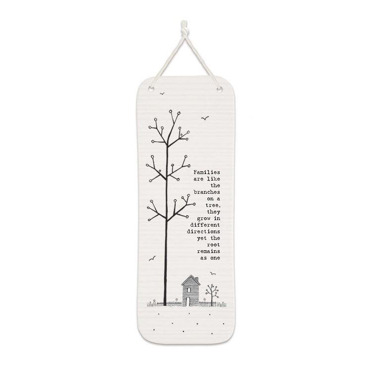 'Families are like branches...' Long Porcelain Hanging Decoration