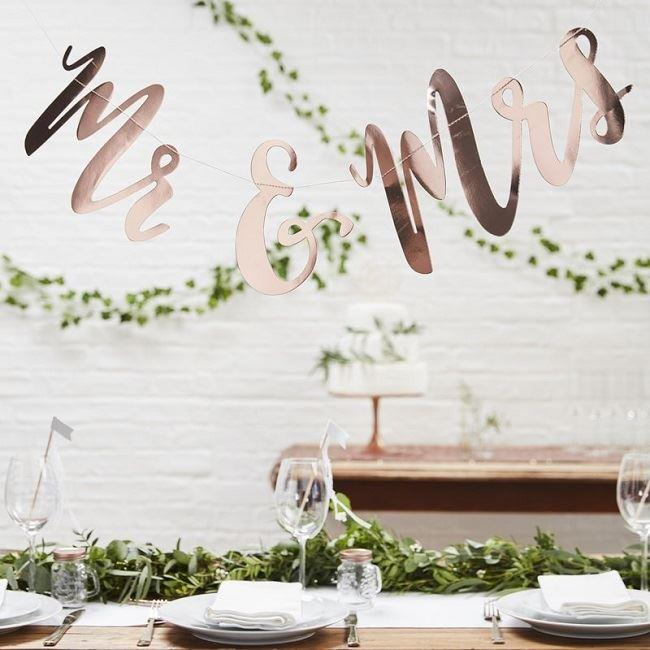 Mr and Mrs Rose Gold Backdrop Sign