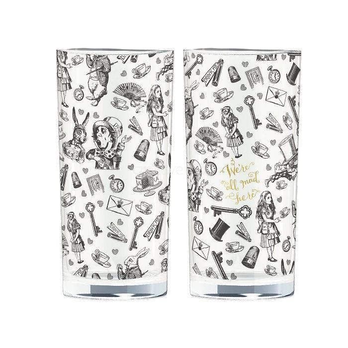 Alice In Wonderland Highball Glasses | Set of 2