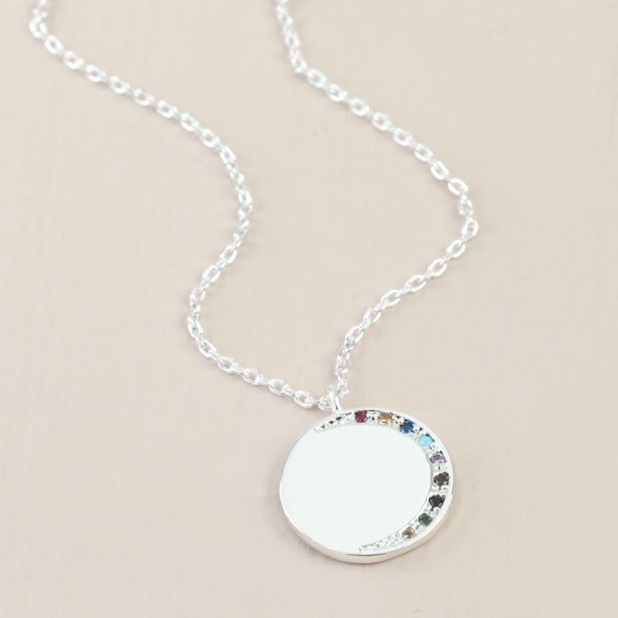 Rainbow CZ Stones Moon Disc Necklace | In Silver