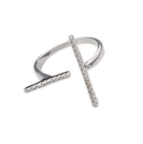 Silver 2 Direction Lines Cubic Zirconia Bars Ring (Size 7) | Message in Bottle Jewellery