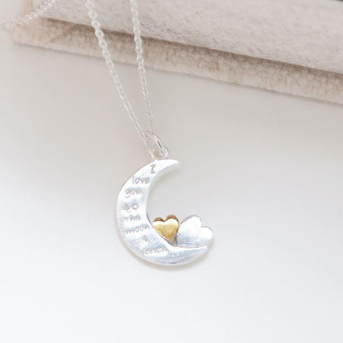 Gold Plated Small Heart On Moon Silver Charm Necklace