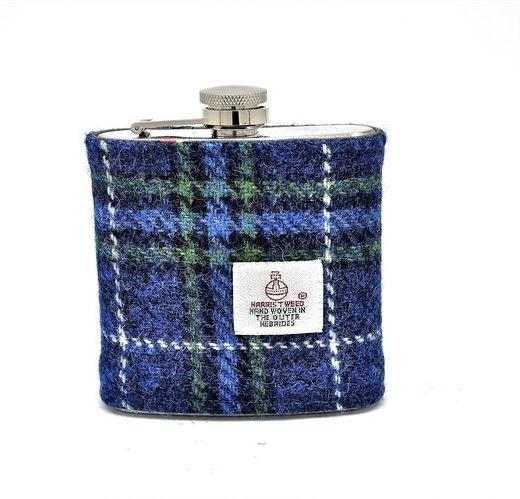 Navy Blue Tweed Hip Flask | In Gift Box