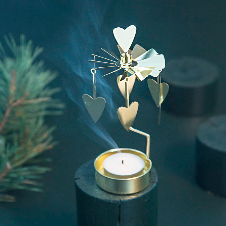 Gold Heart Tea Light Rotary