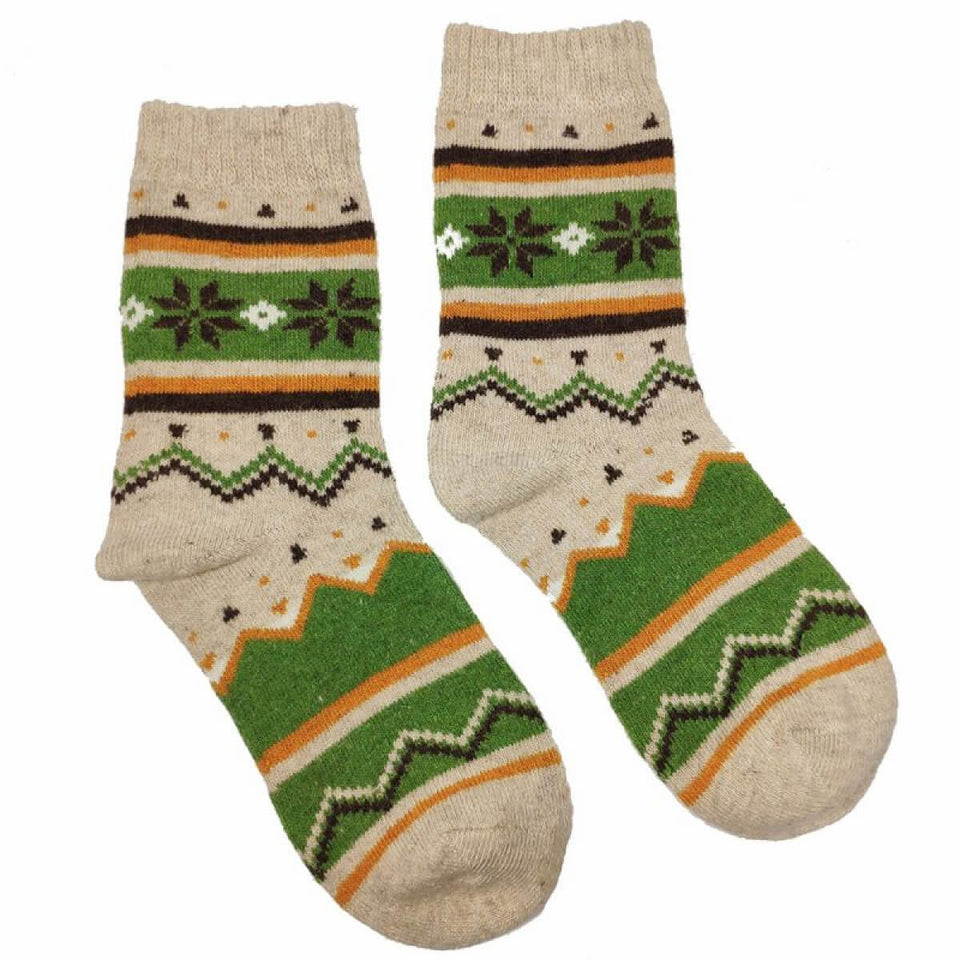 Cream & Green Scandi Wool Blend Socks