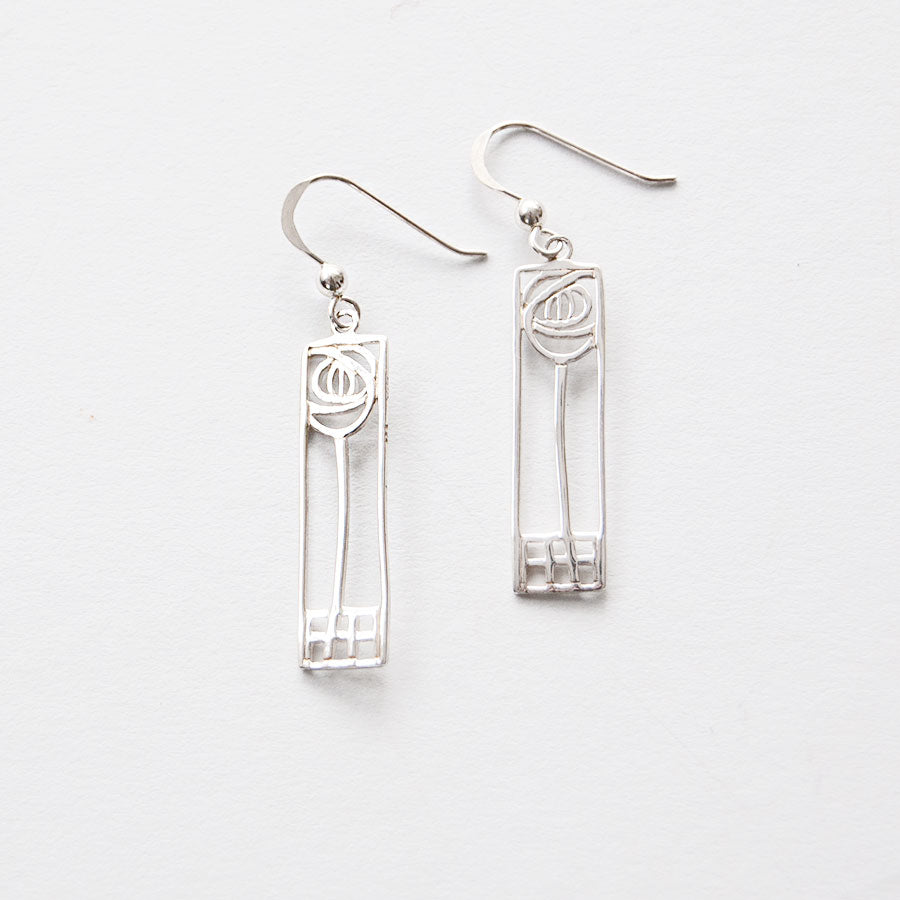 Mackintosh Rose Cut Out Silver Earrings