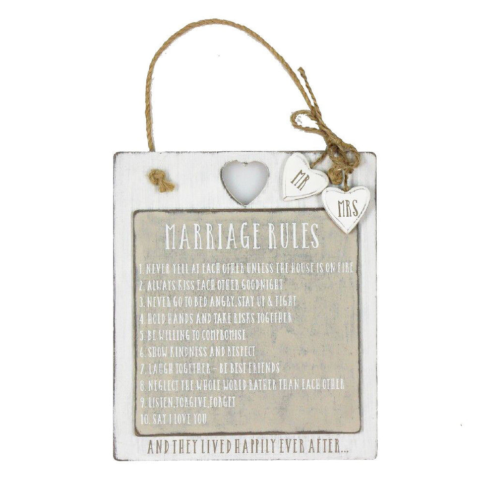 Marriage Rules Wooden Plaque