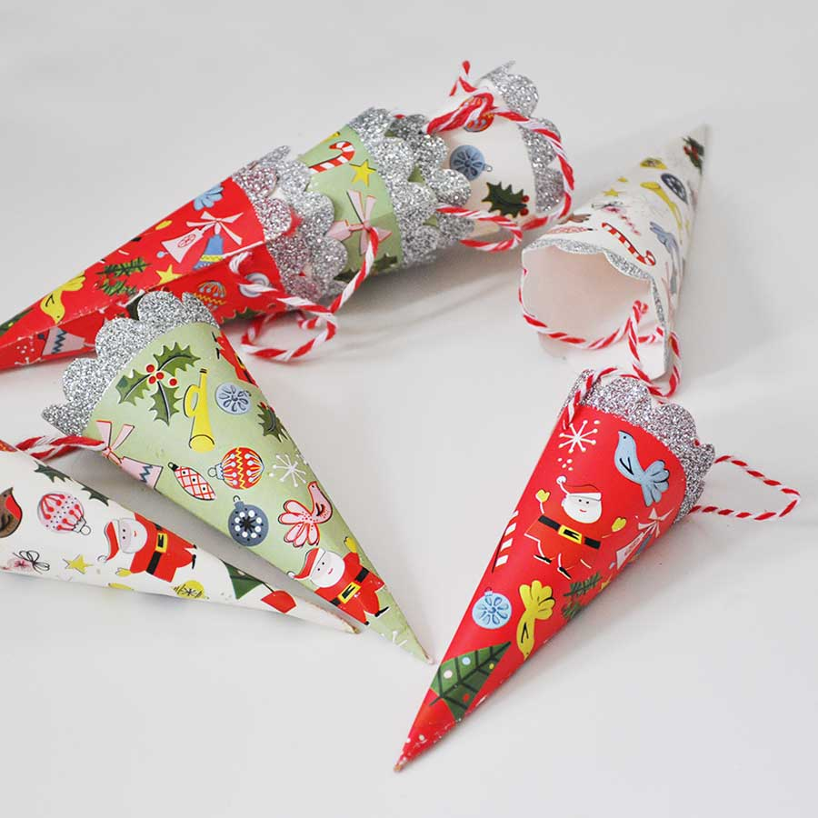 Christmas Tree Paper Cone Decorations Set