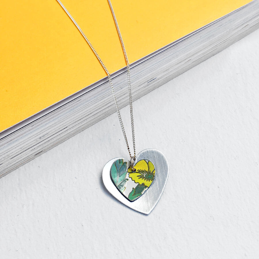 Yellow Primrose Double Round Heart Necklace
