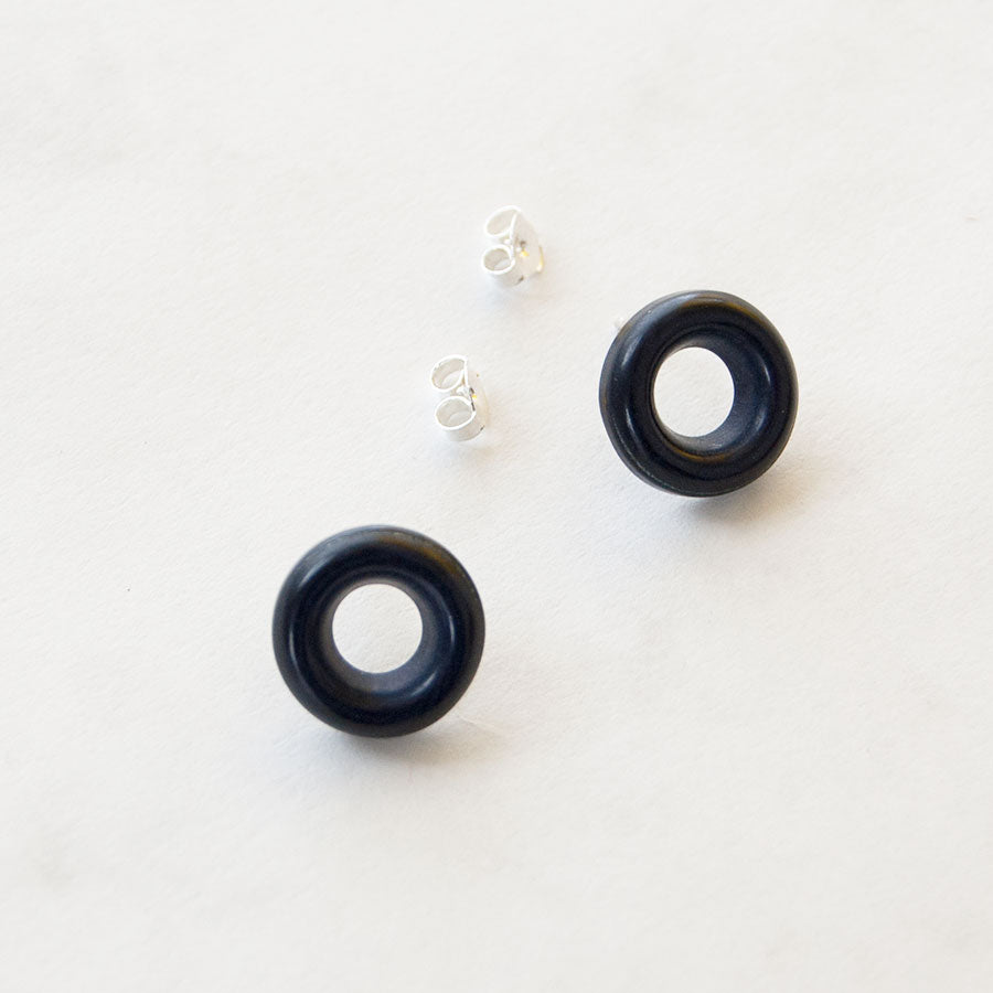 Blue Rachel Circle Stud Earrings