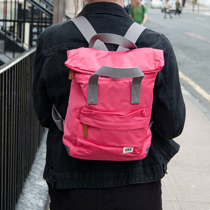 Raspberry Pink  Small Nylon Backpack