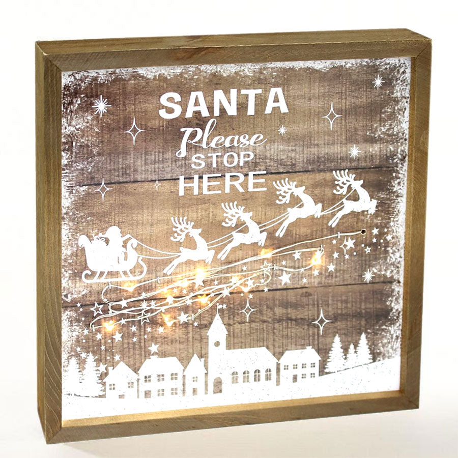 Santa Stop Here LED Plaque