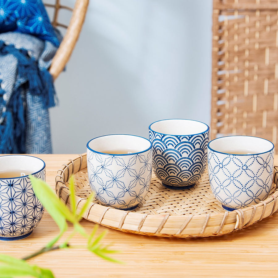 Blue Sashiko Pattern Cup - Assorted Design