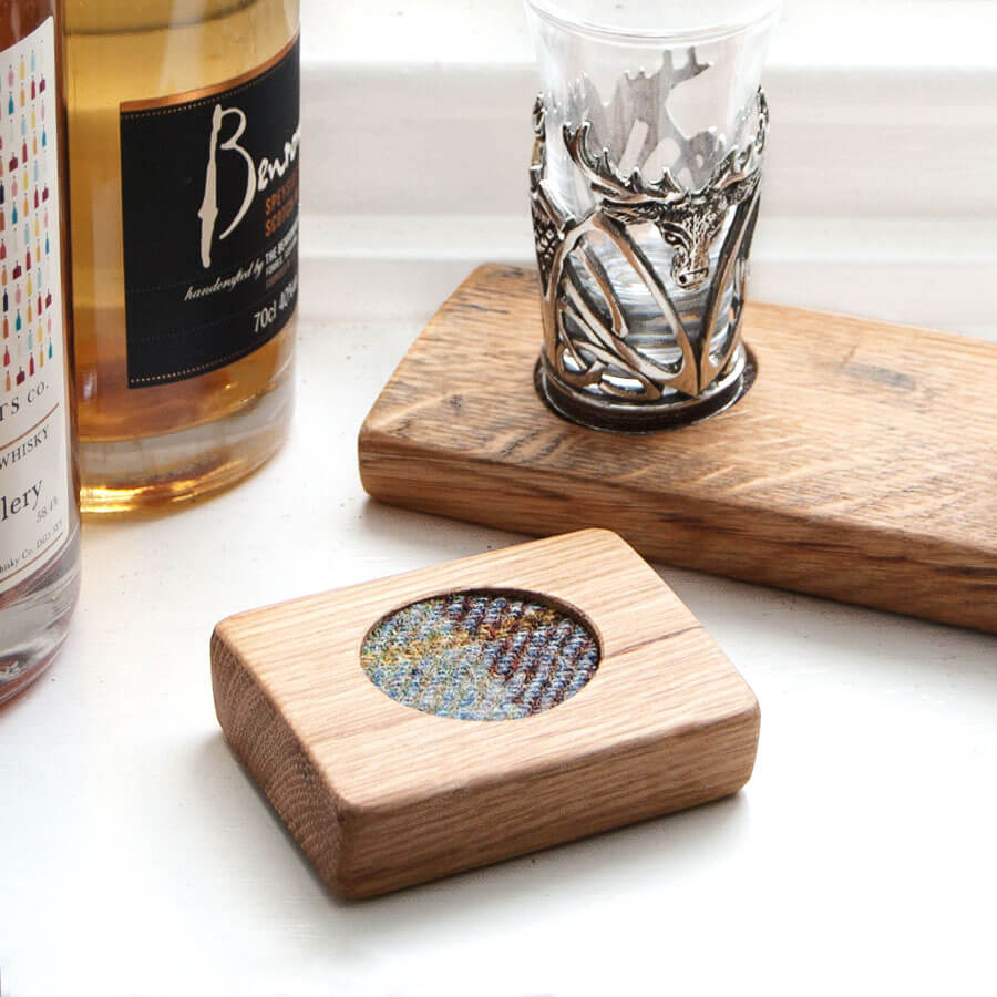Single Shot Glass Wood Barrel Base