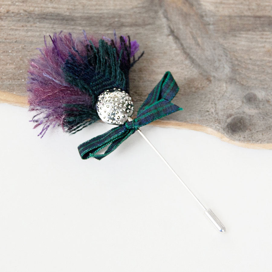 Silver Wool Thistle Tie Pin