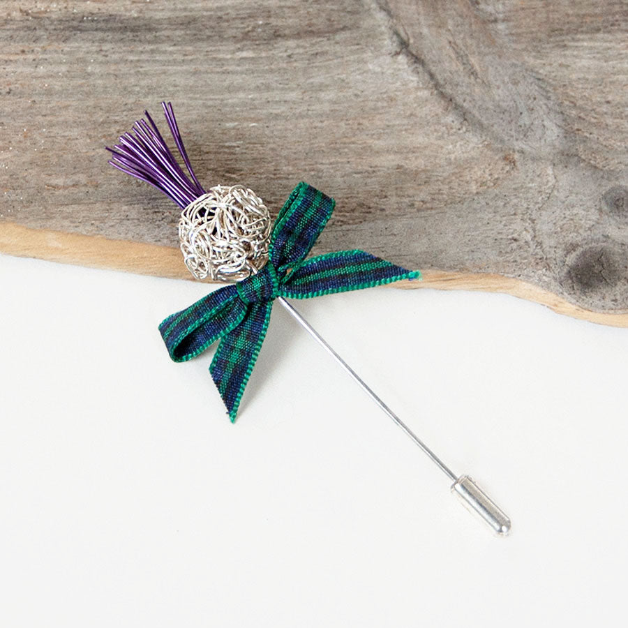 Silver and Purple Ball Wire Thistle Pin
