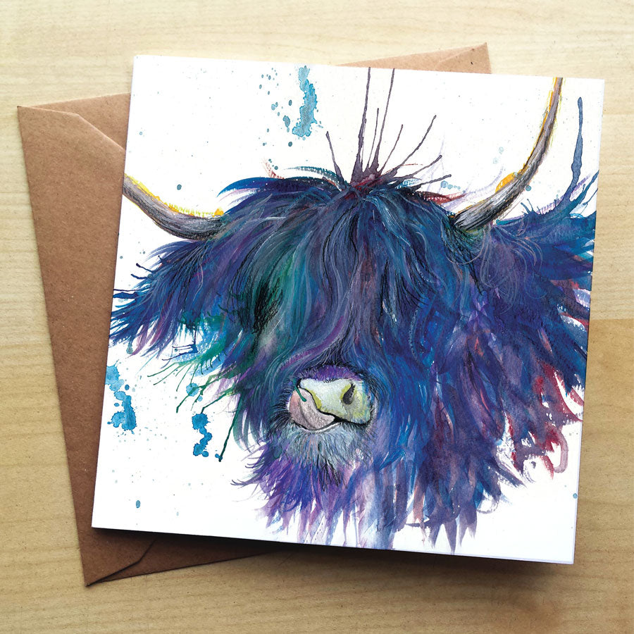 Splatter Highland Cow with Tongue Card