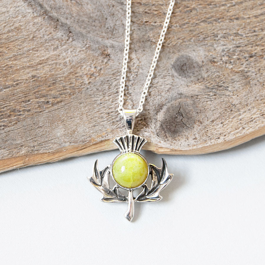 Scottish Thistle Highland Marble Pendant Necklace