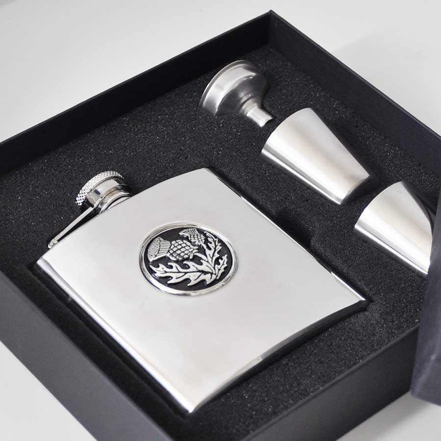 Thistle Hip Flask Set with Funnel and Shot Glasses